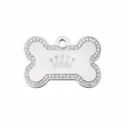 Crown Pet ID Tag: Clear Bling