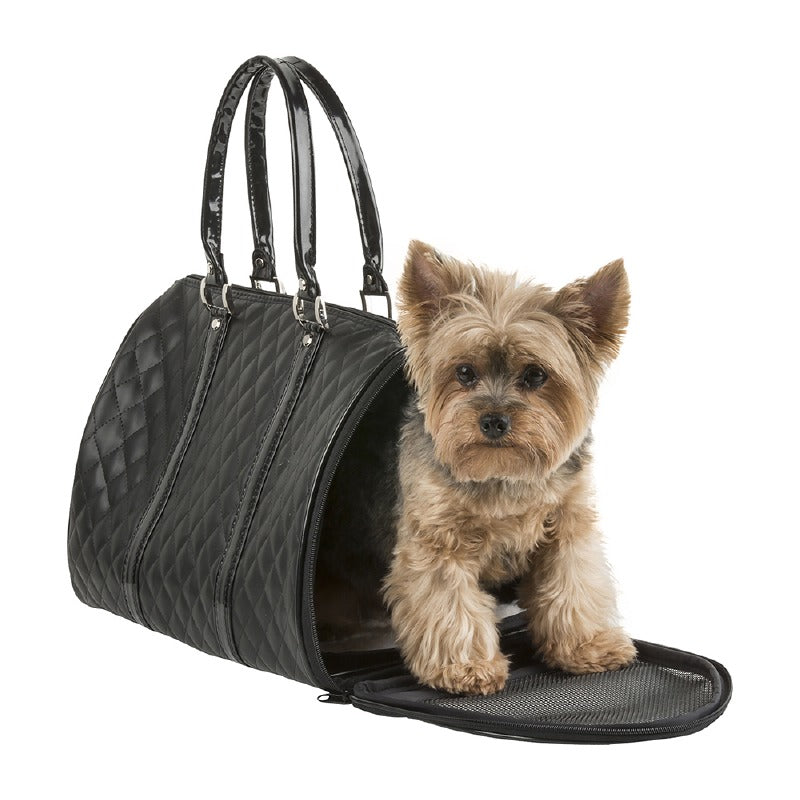Quilted Duffel Dog Carrier: Black
