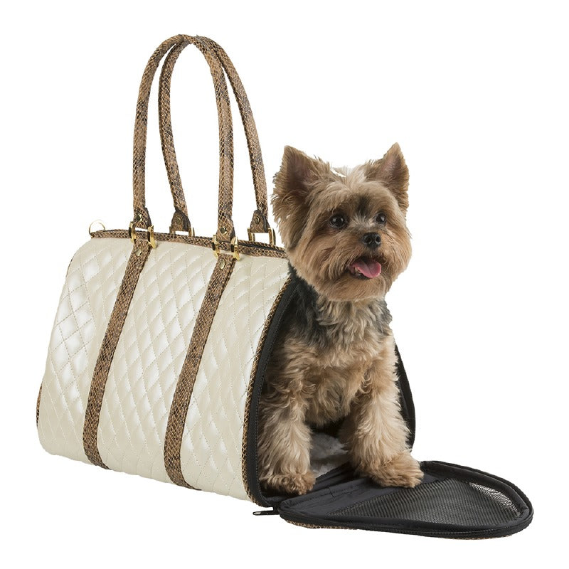 Quilted Duffel Dog Carrier: Ivory