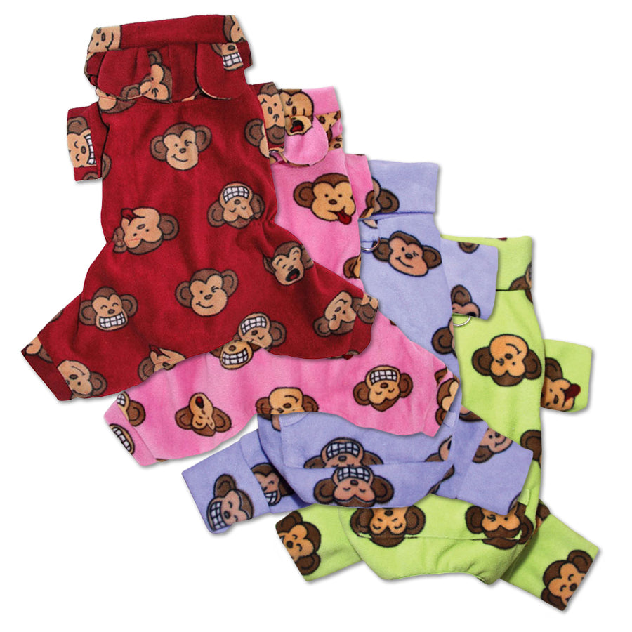 Fleece Monkey Dog Pajamas