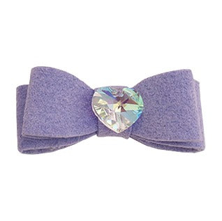 Dog Bow - Lilac Heart Crystal Dog Bow by Susan Lanci