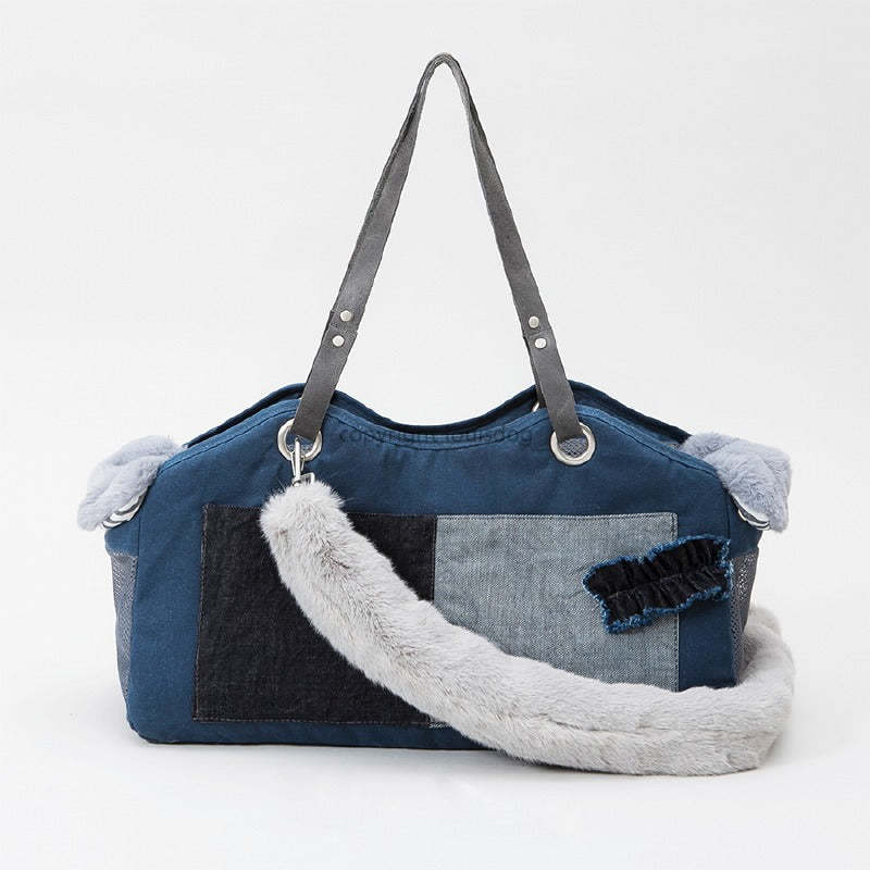 TOSHO Faux Fur Pet Carrier: Denim