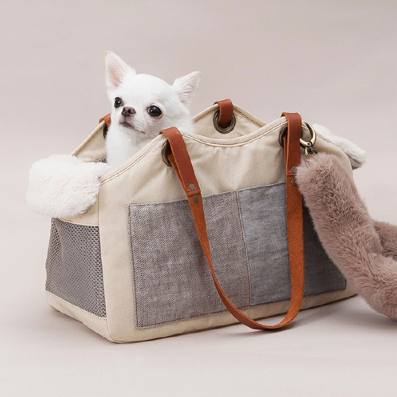 TOSHO Faux Fur Pet Carrier: Beige