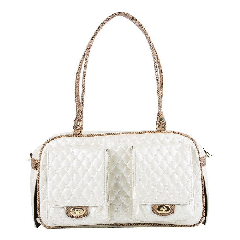 Quilted Marlee Dog Carrier: Ivory