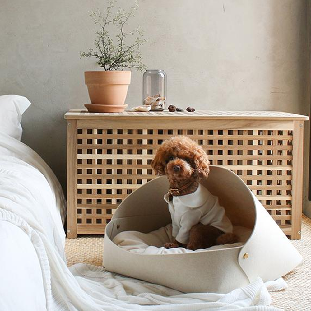 Luxury Dog Bed - Beige Marron Dog Bed - TeaCups Puppies & Boutique