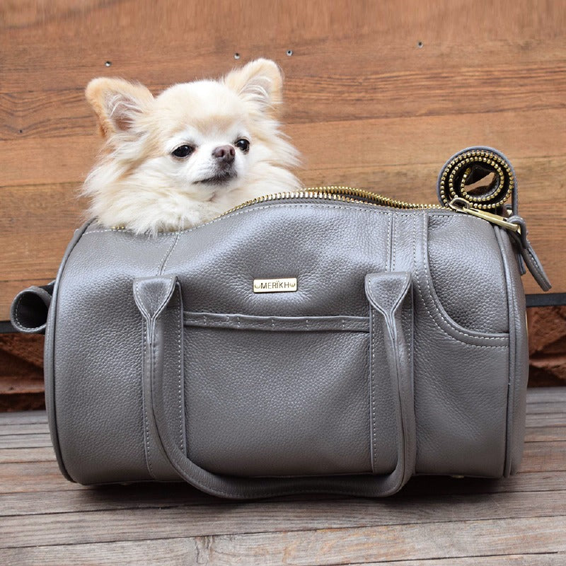 Merikh Leather Dog Carrier: Grey