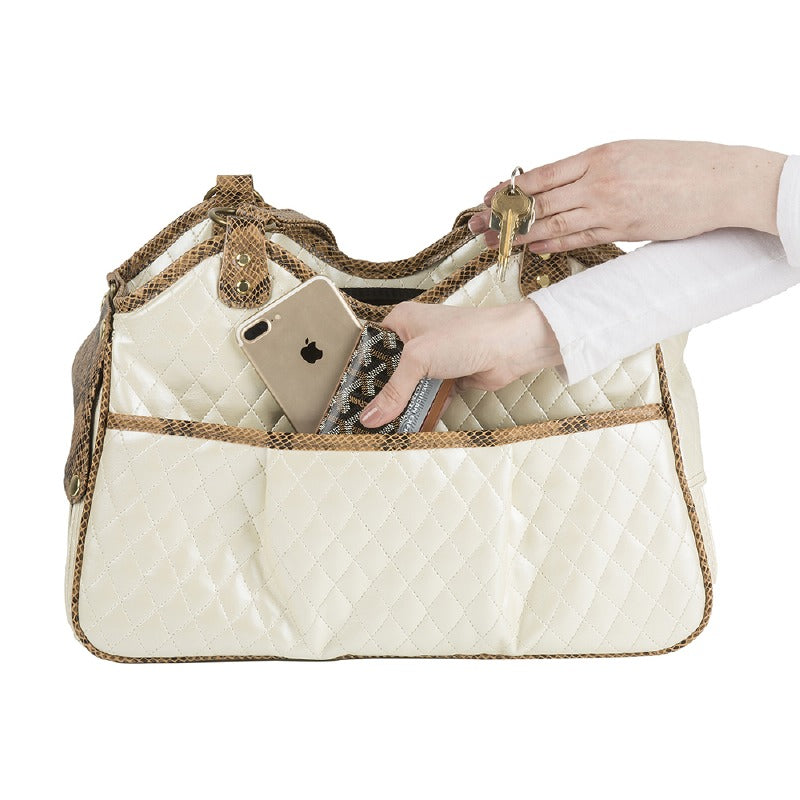 Metro Quilted Pet Carrier: Ivory