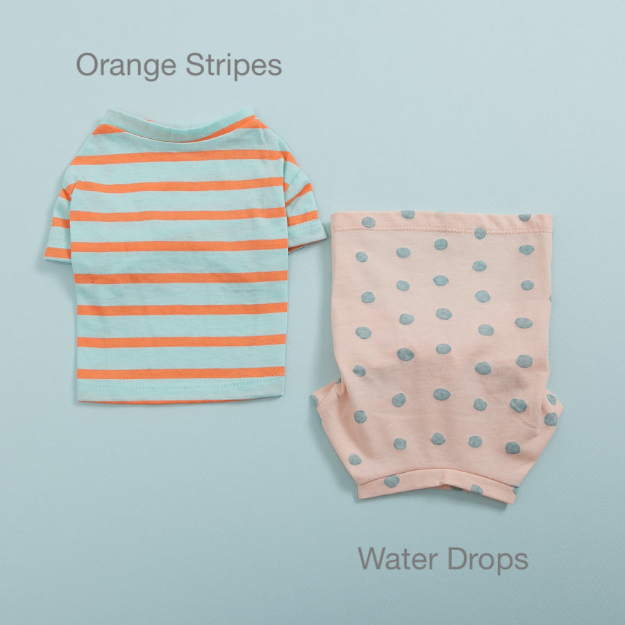 Tee N' Sleeveless Dog Tee: Orange Stripes & Blue
