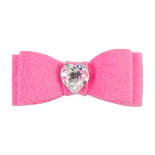 Dog Bow - Perfect Pink Heart Crystal Dog Bow by Susan Lanci