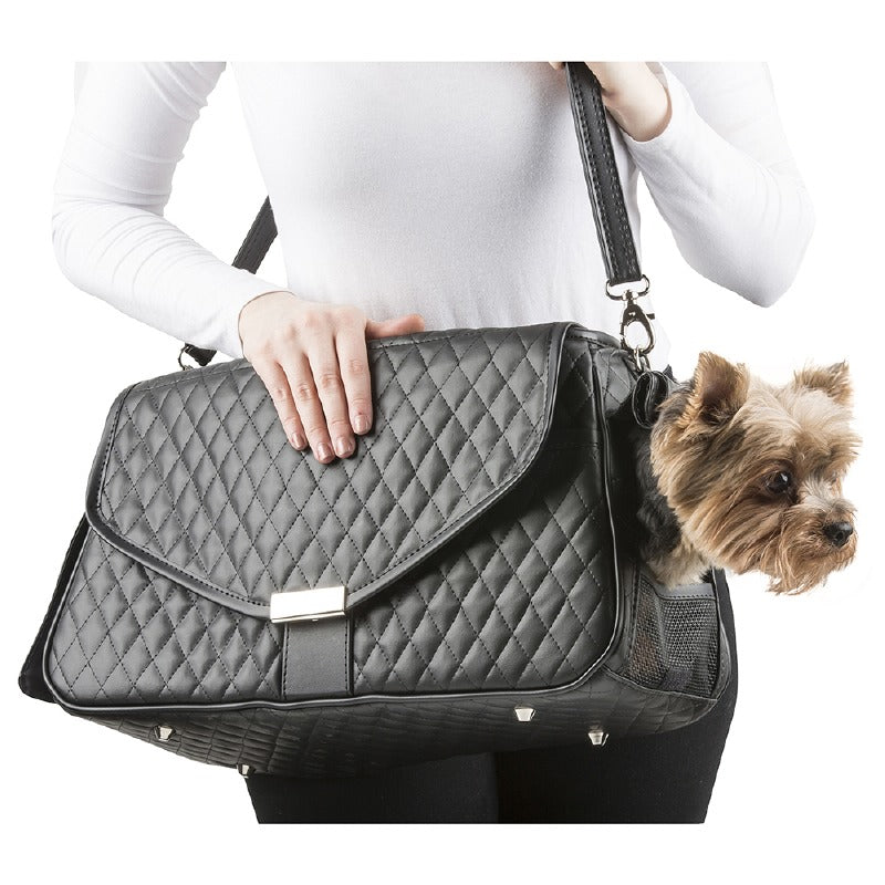 Quilted Siera Pet Carrier: Black