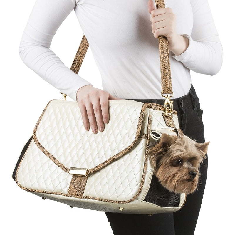 Quilted Siera Pet Carrier: Ivory