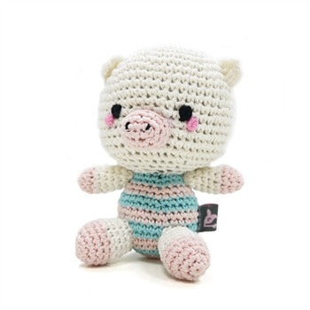 Pet Boutique - Dog Toys - Blue & Pink Crochet Pig Dog Toy