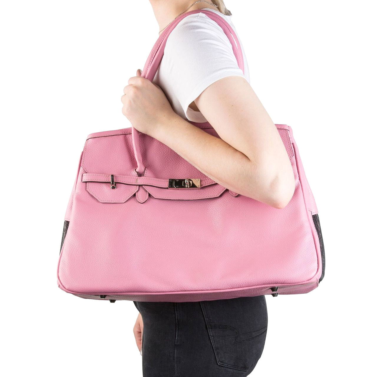 Katie Leather Dog Carrier: Pink