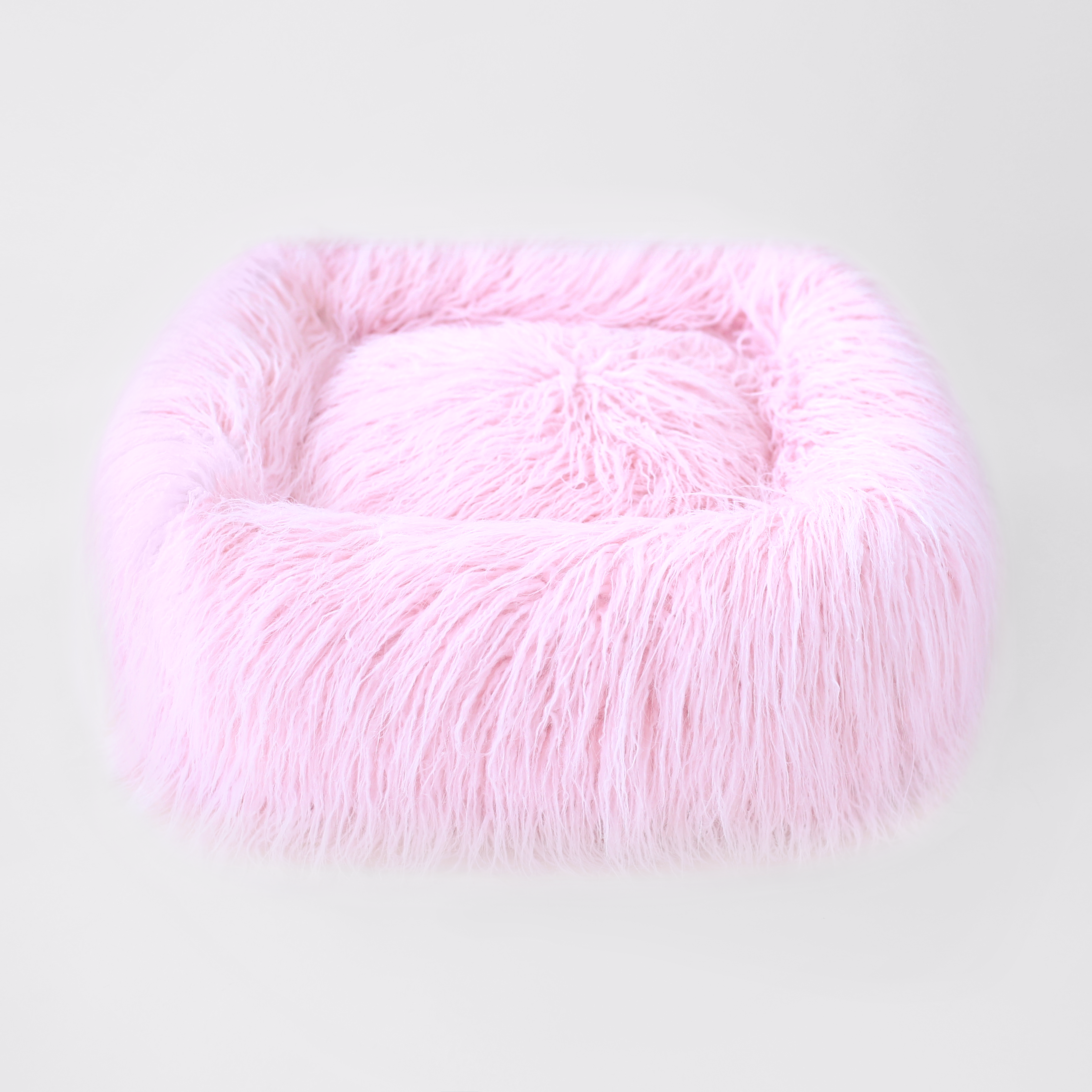 Yak Faux Fur Dog Bed: Pink