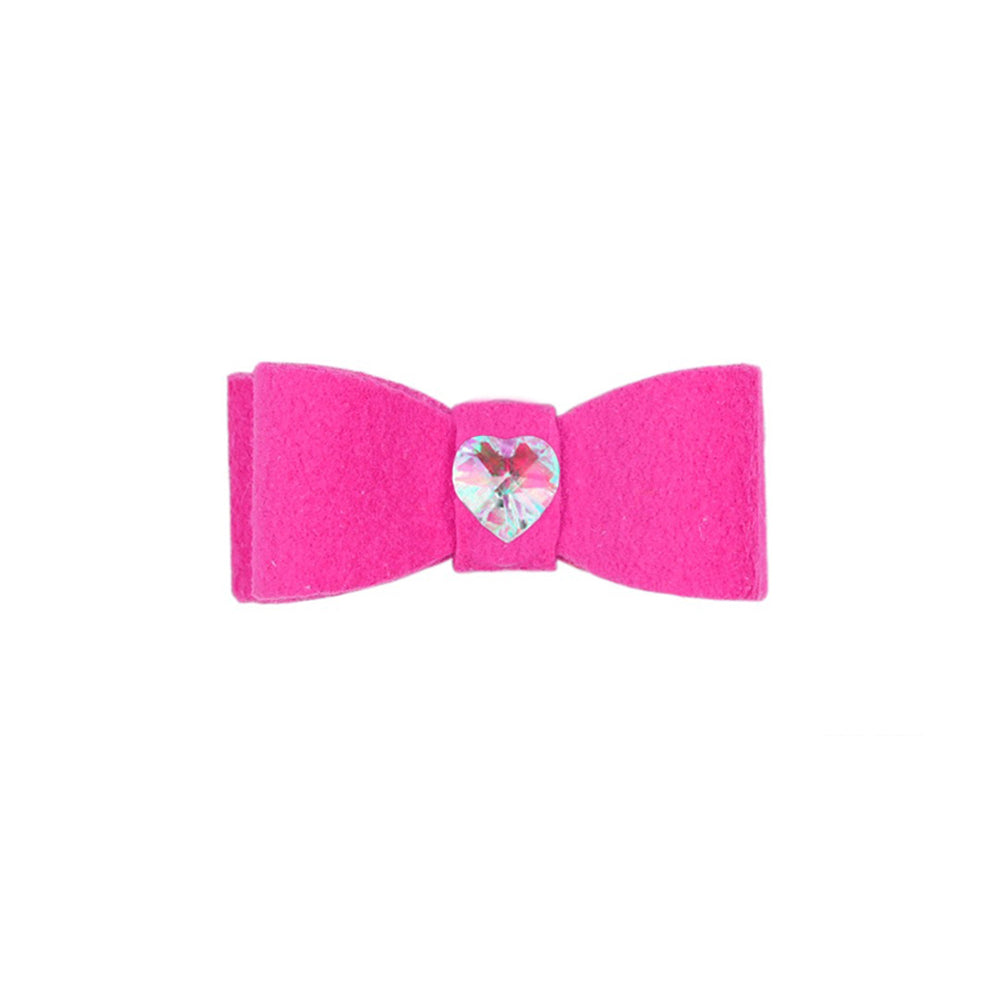 Dog Bow - Pink Sapphire Heart Crystal Dog Bow by Susan Lanci