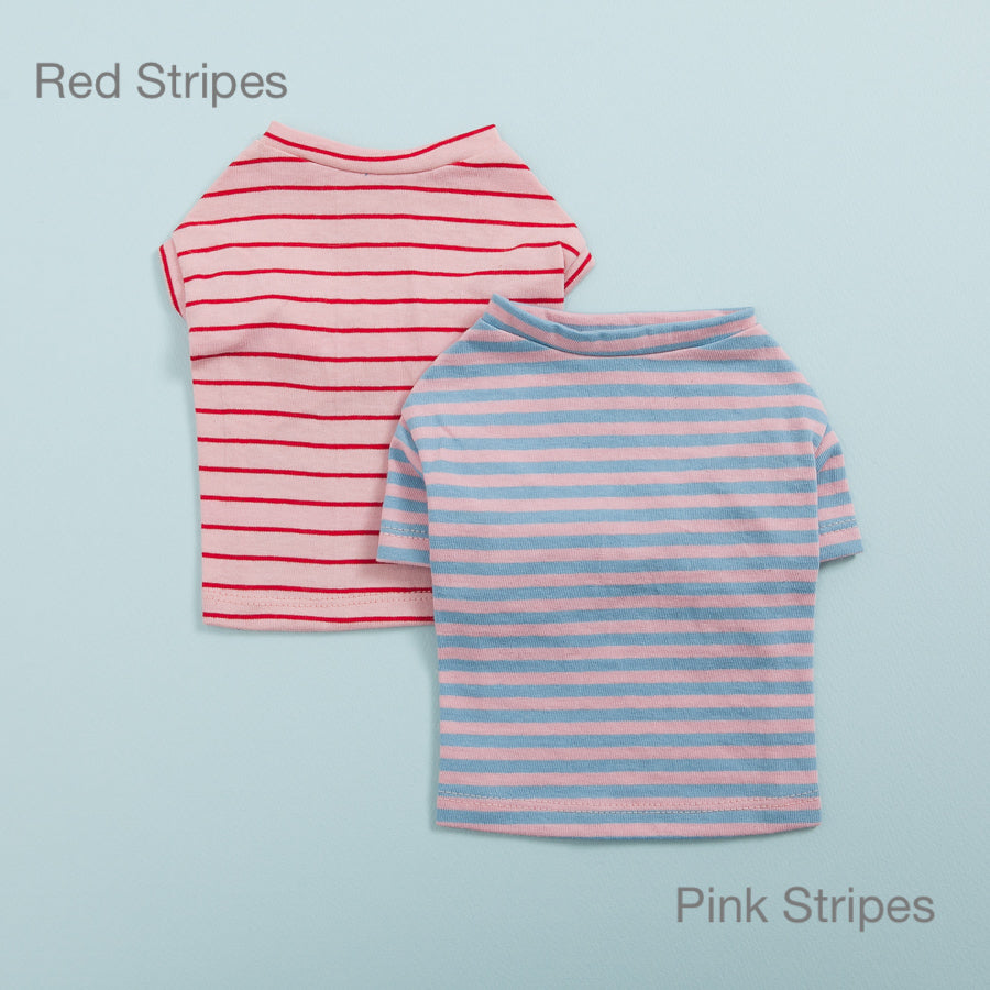 Tee N' Sleeveless Dog Tee: Red Stripes & Pink Stripes