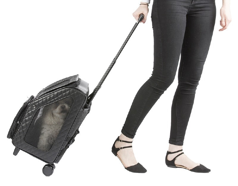 RIO Quilted Rolling Pet Carrier: Black