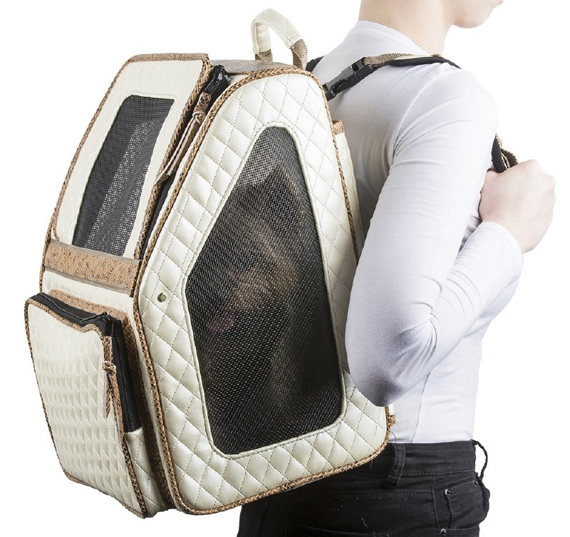 RIO Quilted Rolling Pet Carrier: Ivory