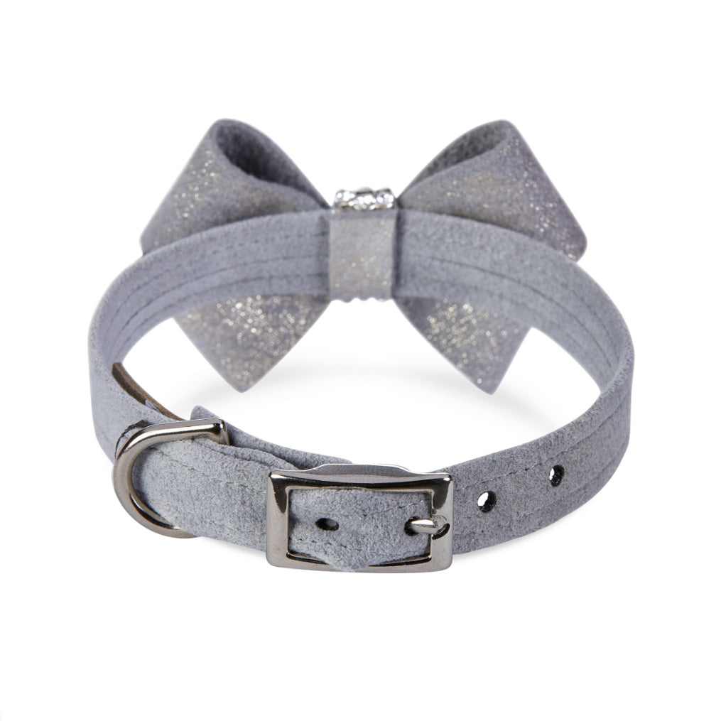 Nouveau Bow Dog Collar: Platinum Glitzerati