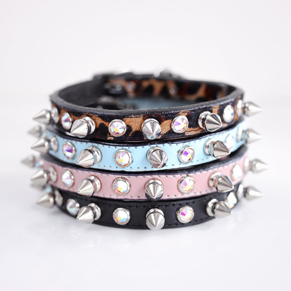 Crystal Spike Dog Collar