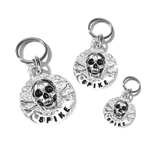 Pet Boutique - Dog Accessories - Dog ID Tags - Sterling Silver Skull