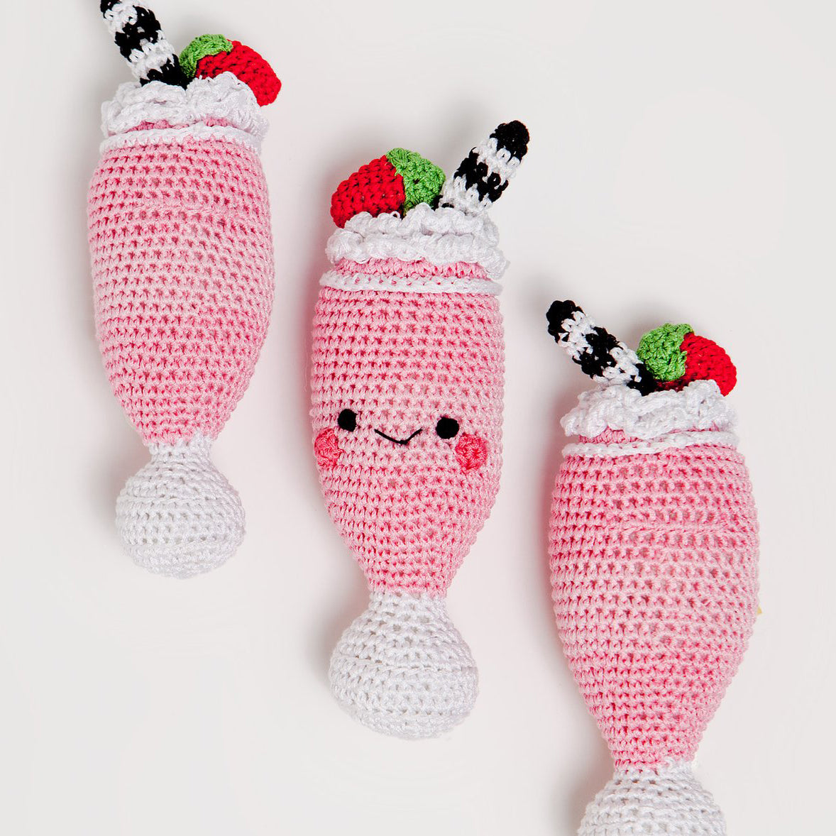 Crochet Strawberry Milkshake Dog Toy