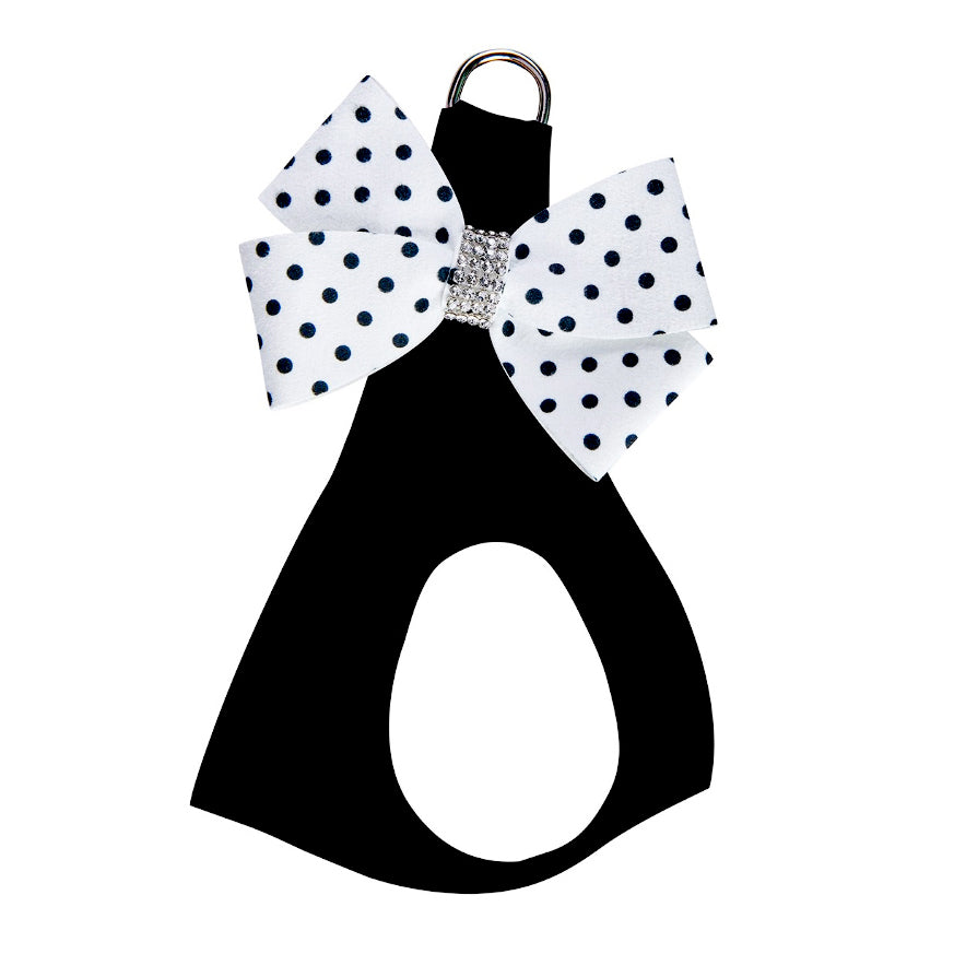 Nouveau Bow Black Harness: Polka Dot Bow