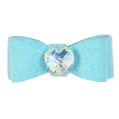 Dog Bow - Tiffy Blue Heart Crystal Dog Bow by Susan Lanci