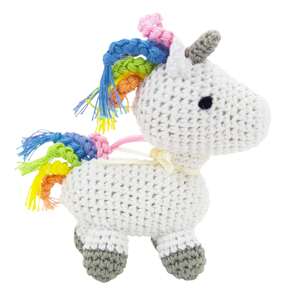 Crochet Rainbow Unicorn Dog Toy