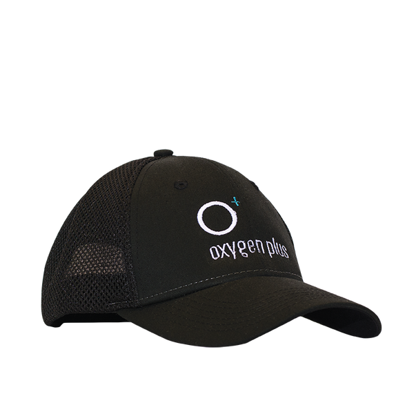 Oxygen Plus Black Baseball hat with logo embroidery