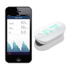 iHealth Wireless Pulse Oximeter with Screenshot of iHealth Application on phone