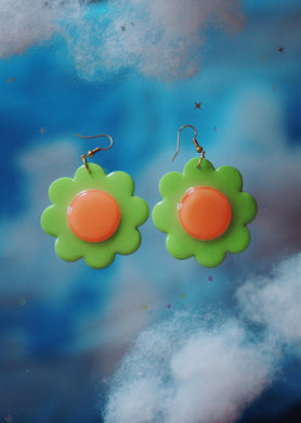 Mint and Peach Daisy Dangles