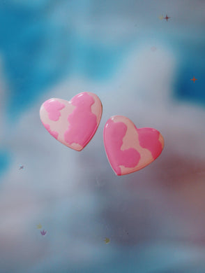 XL Pink Cow Heart Studs