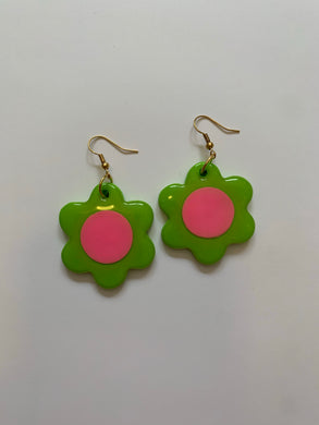 *SALE* Green and Pink Daisy Dangles