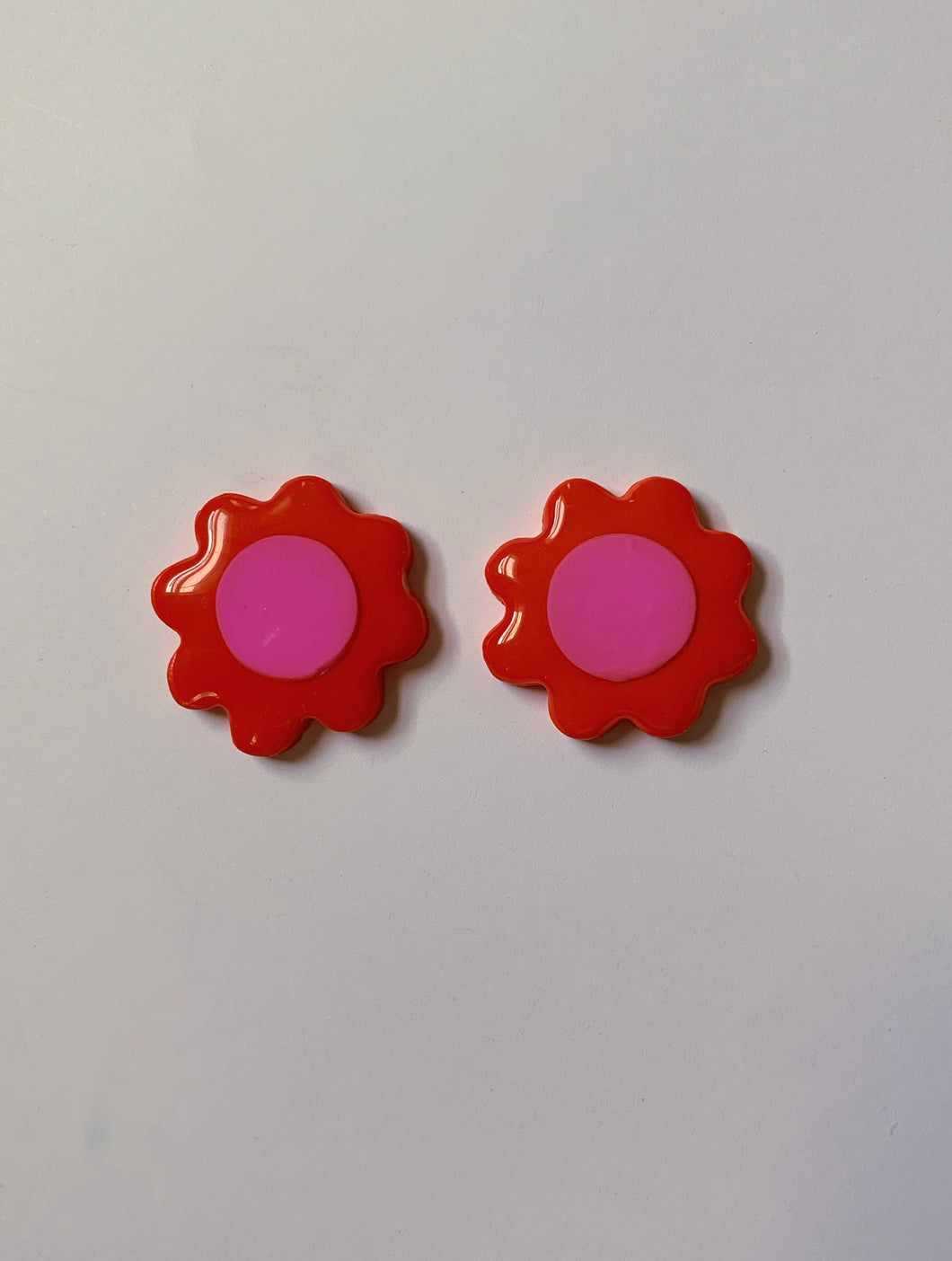 Red and Pink Daisy Studs