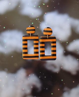 *SALE* Orange and Black Striped Rectangles