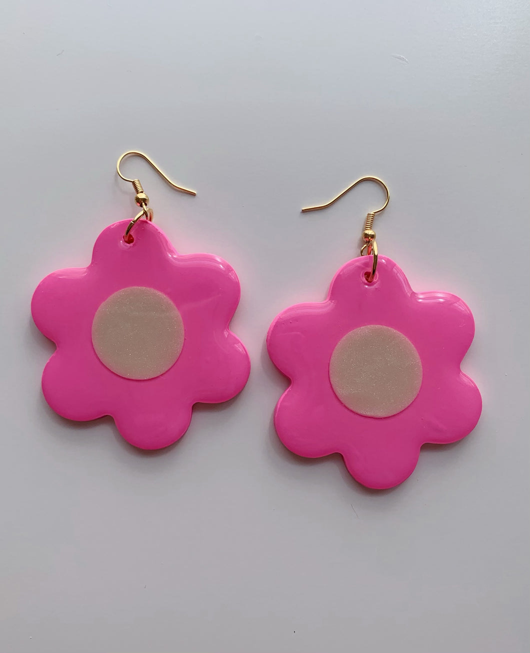 Big Pink and White Daisy Dangles
