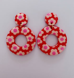 Big Red, White and Pink Floral Hoops