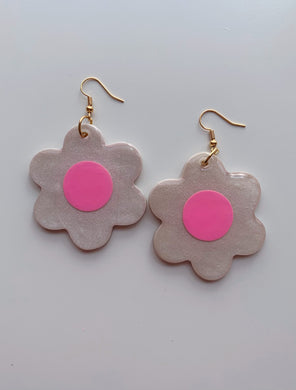 Big Sparkly White and Pink Daisy Dangles