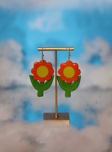 *SALE* Orange and Yellow Flower Dangles