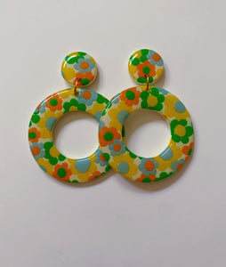 XL Blue, Green, Orange and Yellow Floral Hoops