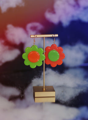 Orange and Green Mix & Match Daisy Dangles