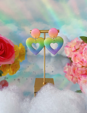 Ombre Mini Heart Hoops