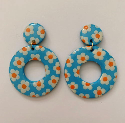 Big Blue Hoops with White and Orange Flowers
