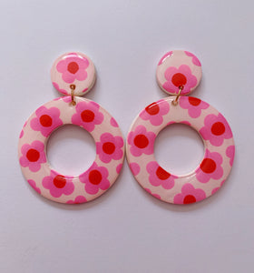 Big White and Pink Floral Hoops