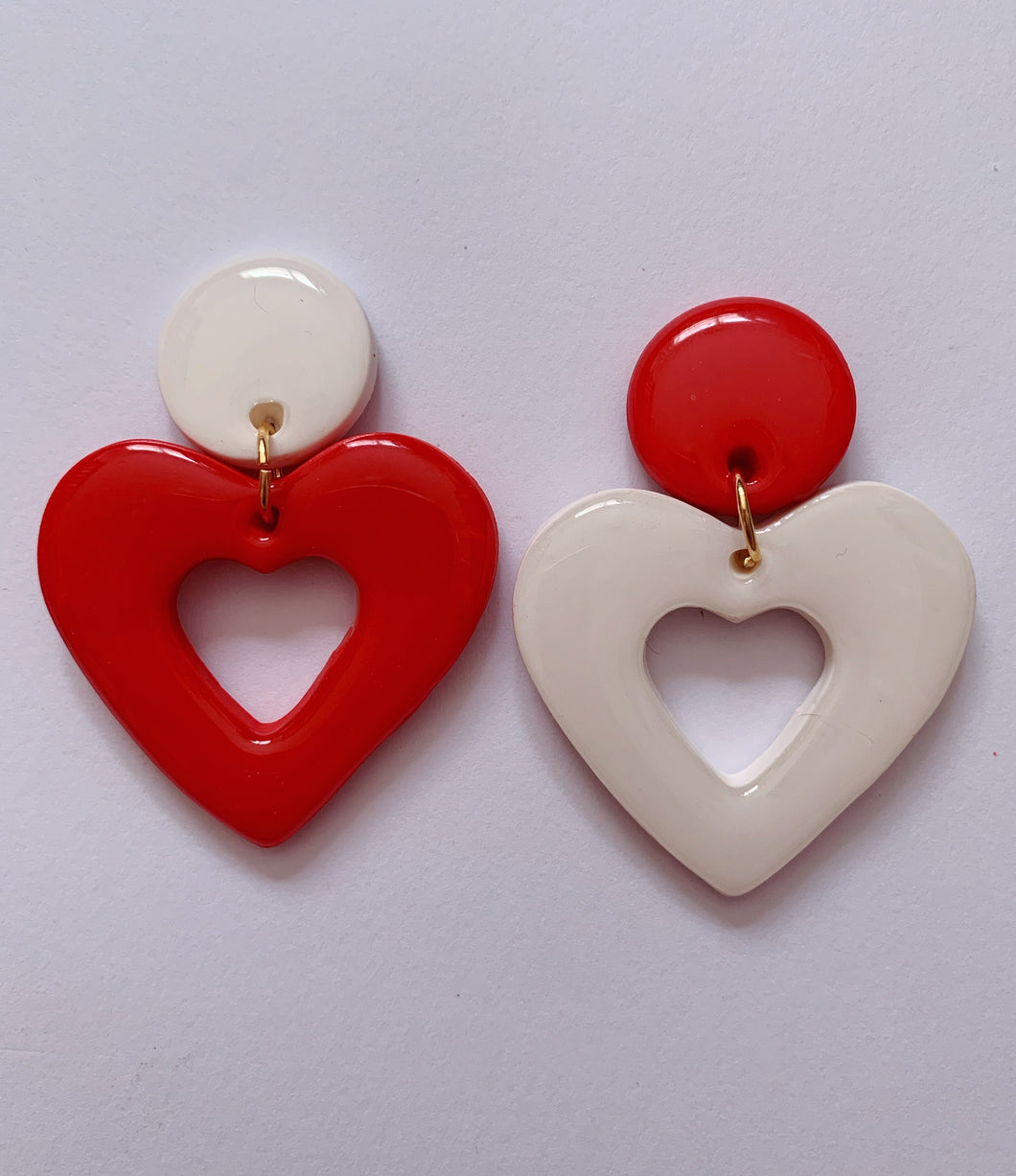 Red and White Mix & Match Heart Hoops