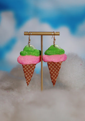 Mint and Pink Ice Cream Cone Dangles