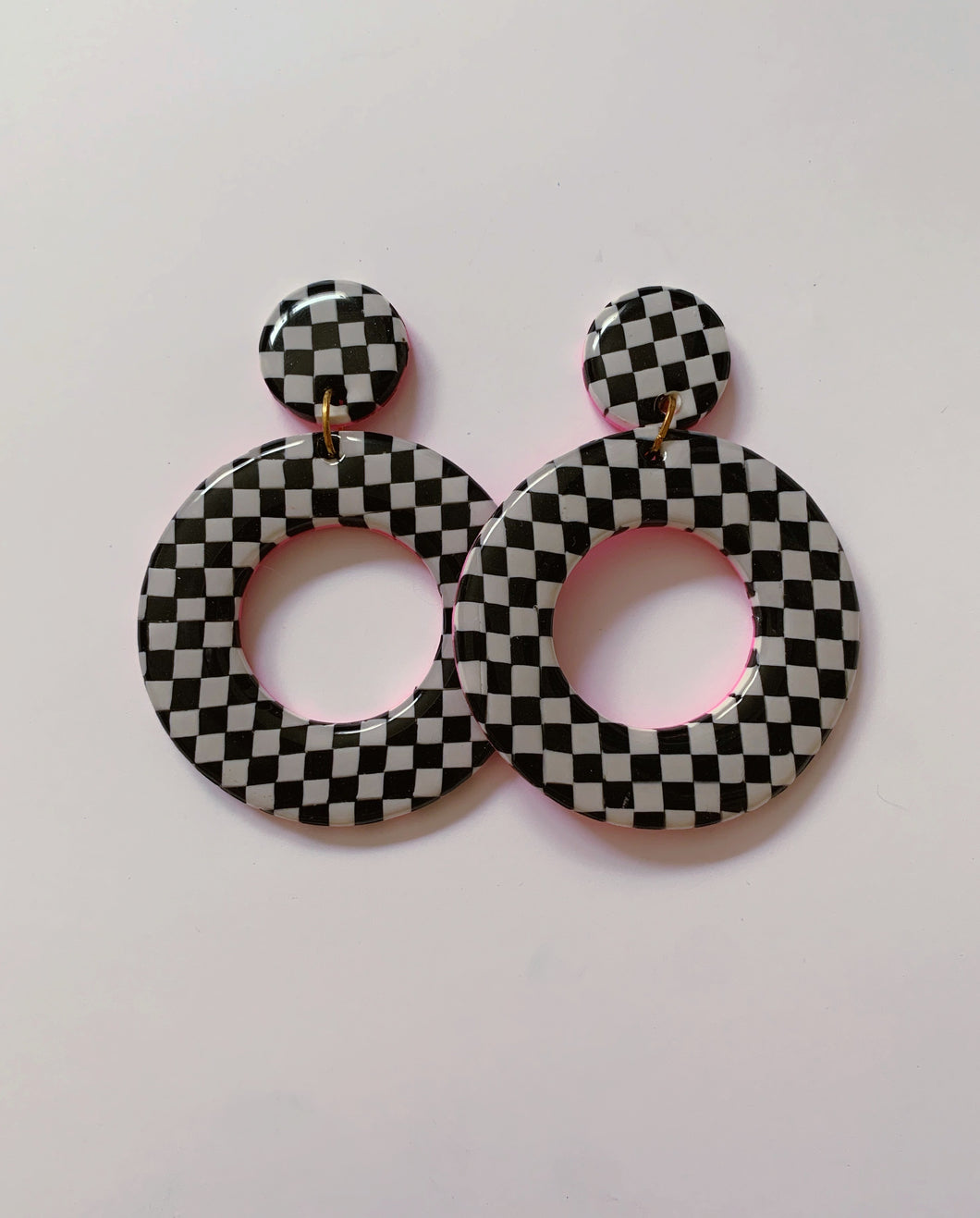 XL Black and White Checkered Hoops
