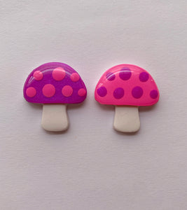 Pink and Purple Mushroom Studs