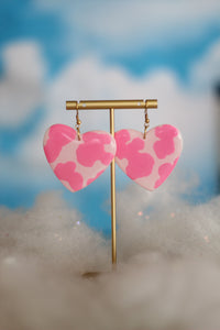 Pink Cow Heart Dangles